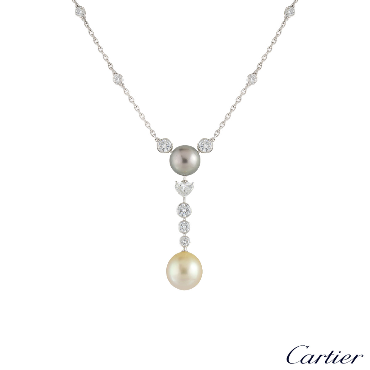 Cartier Platinum Diamond and Pearl Calin Necklace 2.61ct HP700329